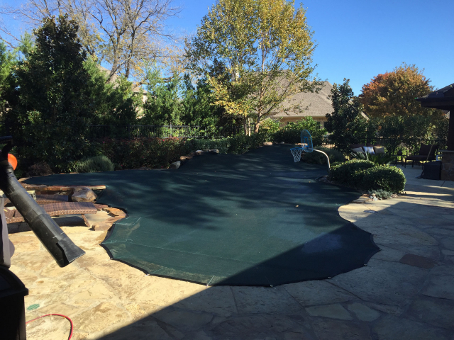 Pool Leaf Cover with Rock Wall