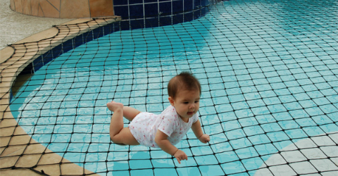 Baby on Safety Net